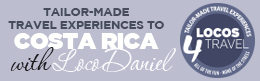 Logi with our slogan: Tailor-made travel experiences to Costa Rica with Loco Daniel